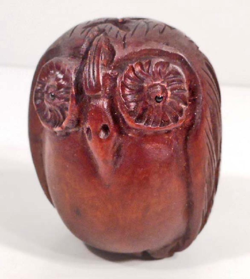 BOXWOOD NETSUKE OWL FIGURINE