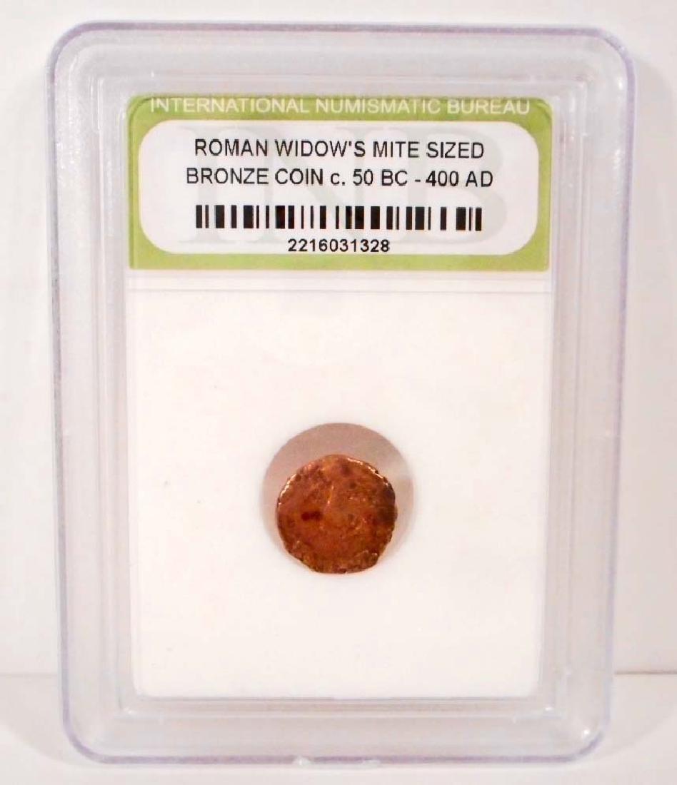 C. 50 BC - 400 AD ROMAN BRONZE COIN - SLABBED