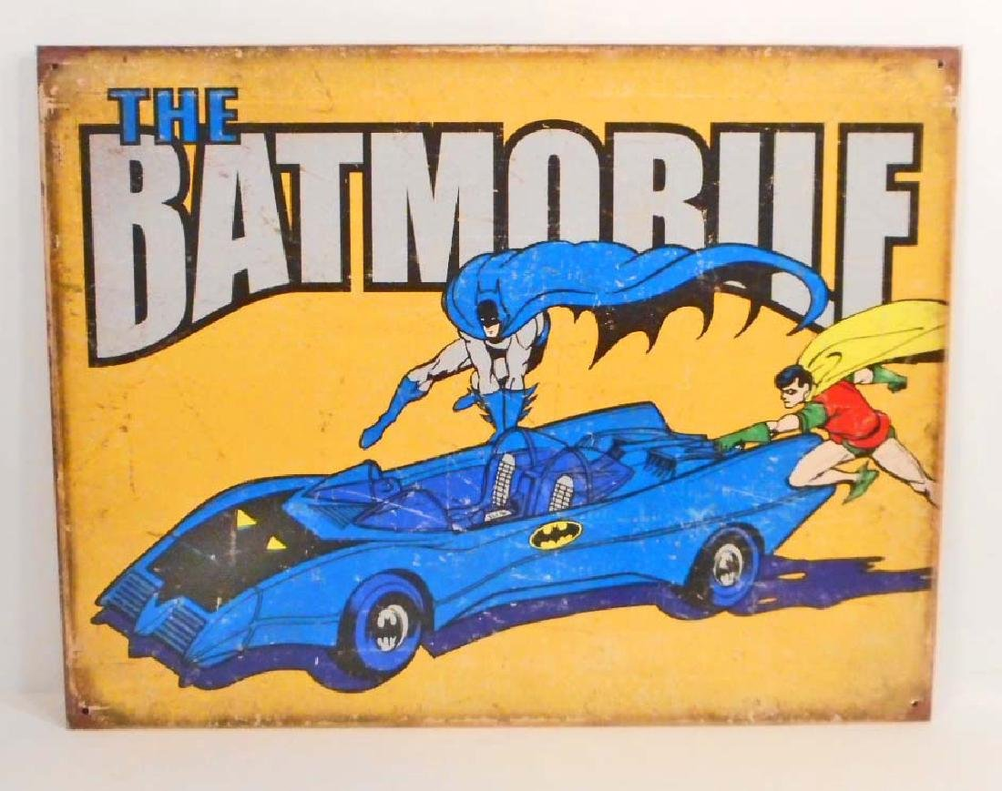 BATMAN THE BATMOBILE METAL SIGN