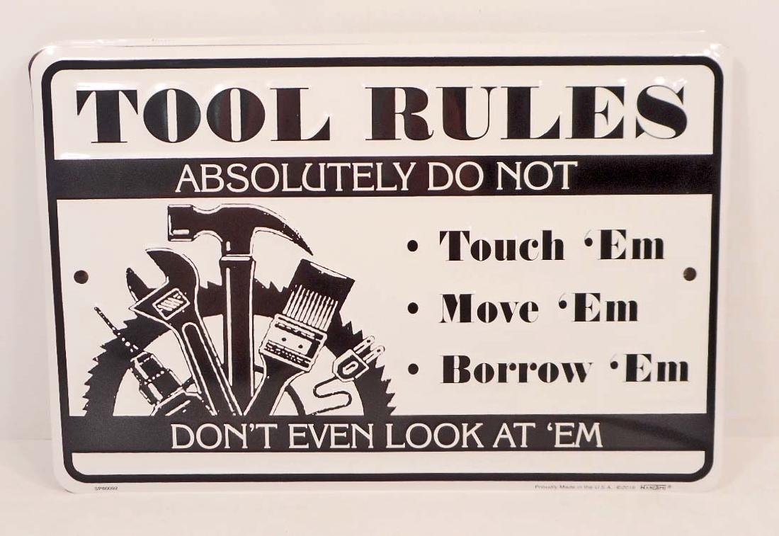 TOOL RULES FUNNY EMBOSSED METAL SIGN