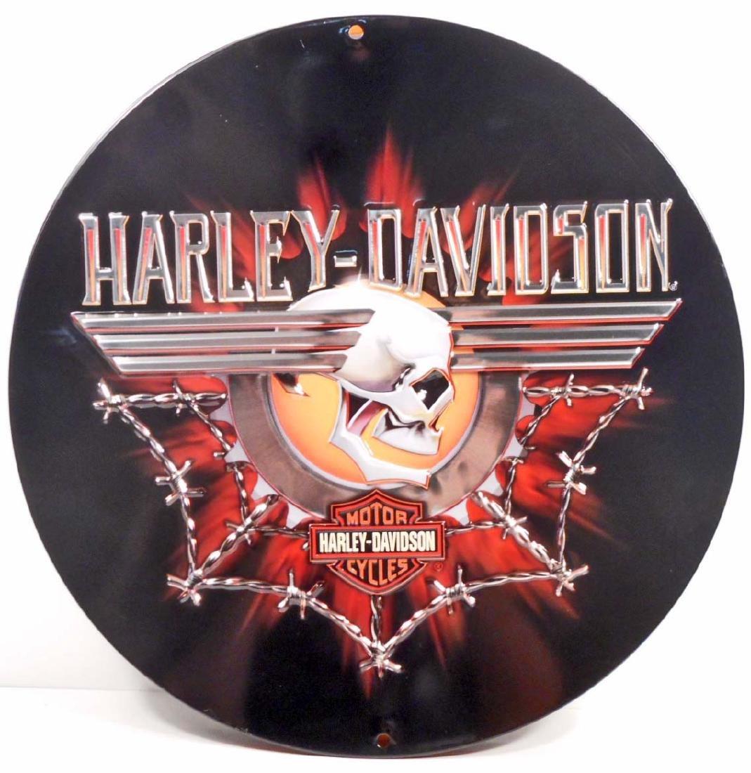 HARLEY DAVIDSON BARB  WIRE ROUND EMBOSSED METAL TIN