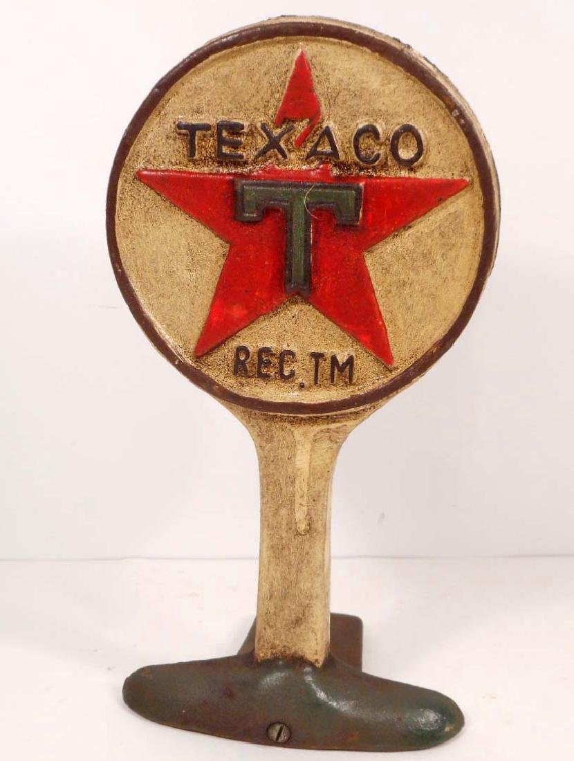 CAST IRON TEXACO OIL GAS DOOR STOP