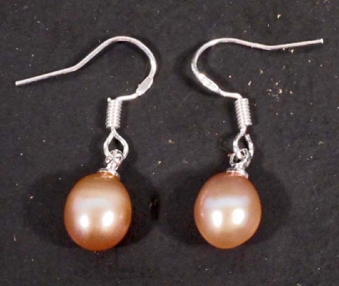 PAIR OF STERLING SILVER PURPLE FRESHWATER CULTURED