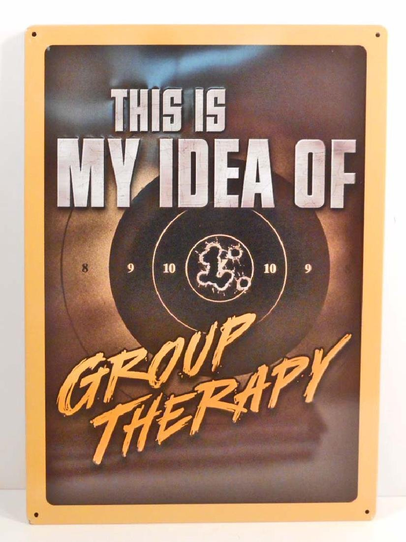 GROUP THERAPY FUNNY EMBOSSED METAL SIGN