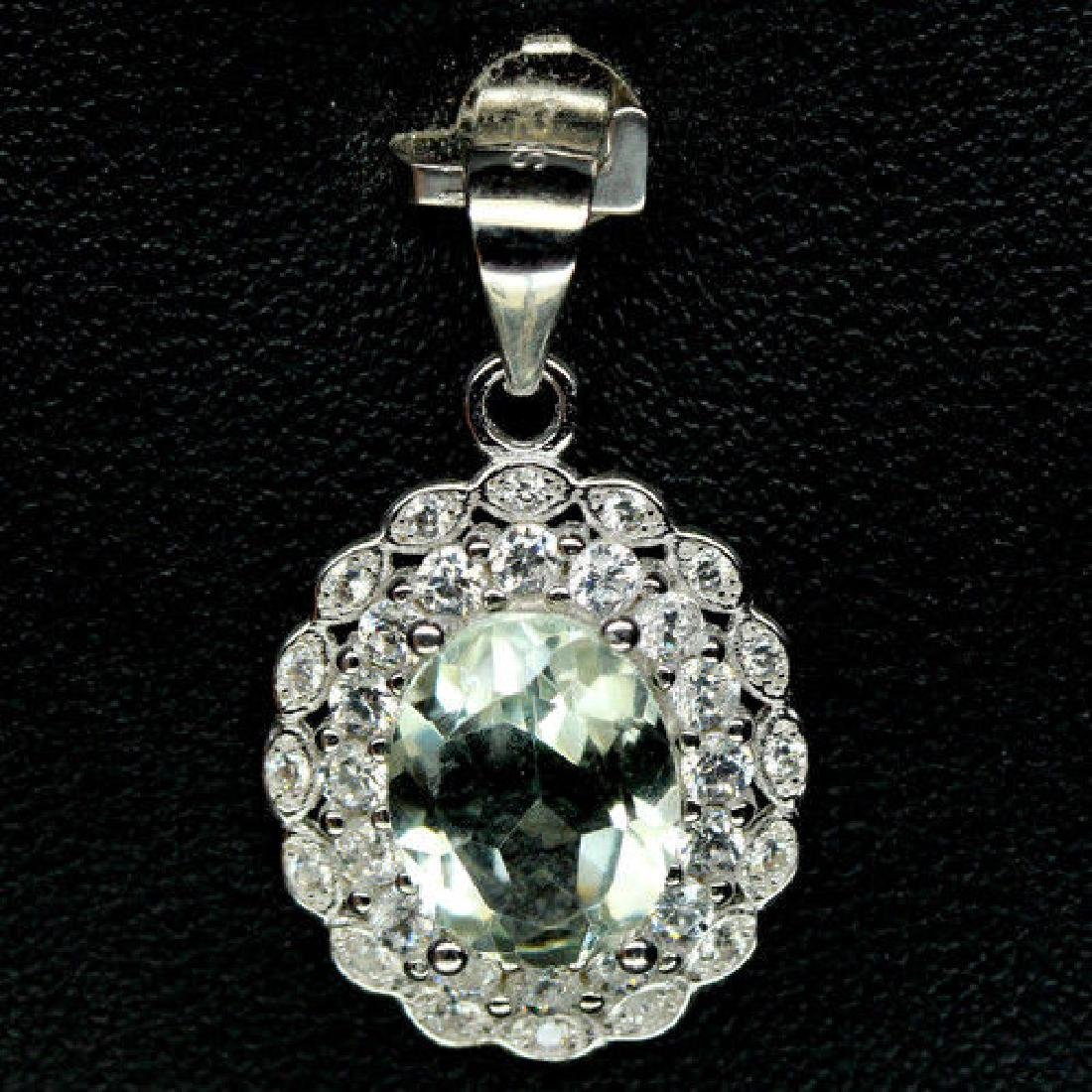 ALLURING! NATURAL1 8 X 10 mm. GREEN AMETHYST & WHITE CZ