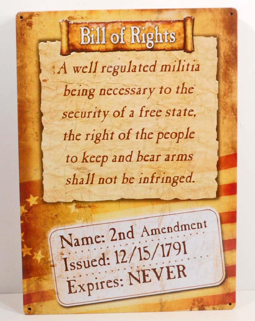BILL OF RIGHTS FUNNY EMBOSSED METAL SIGN
