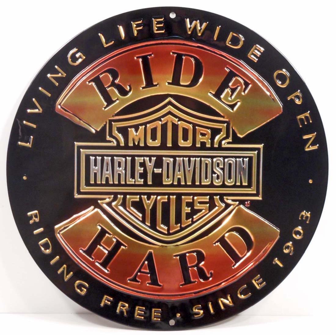 HARLEY DAVIDSON RIDE HARD ROUND EMBOSSED METAL TIN SIGN
