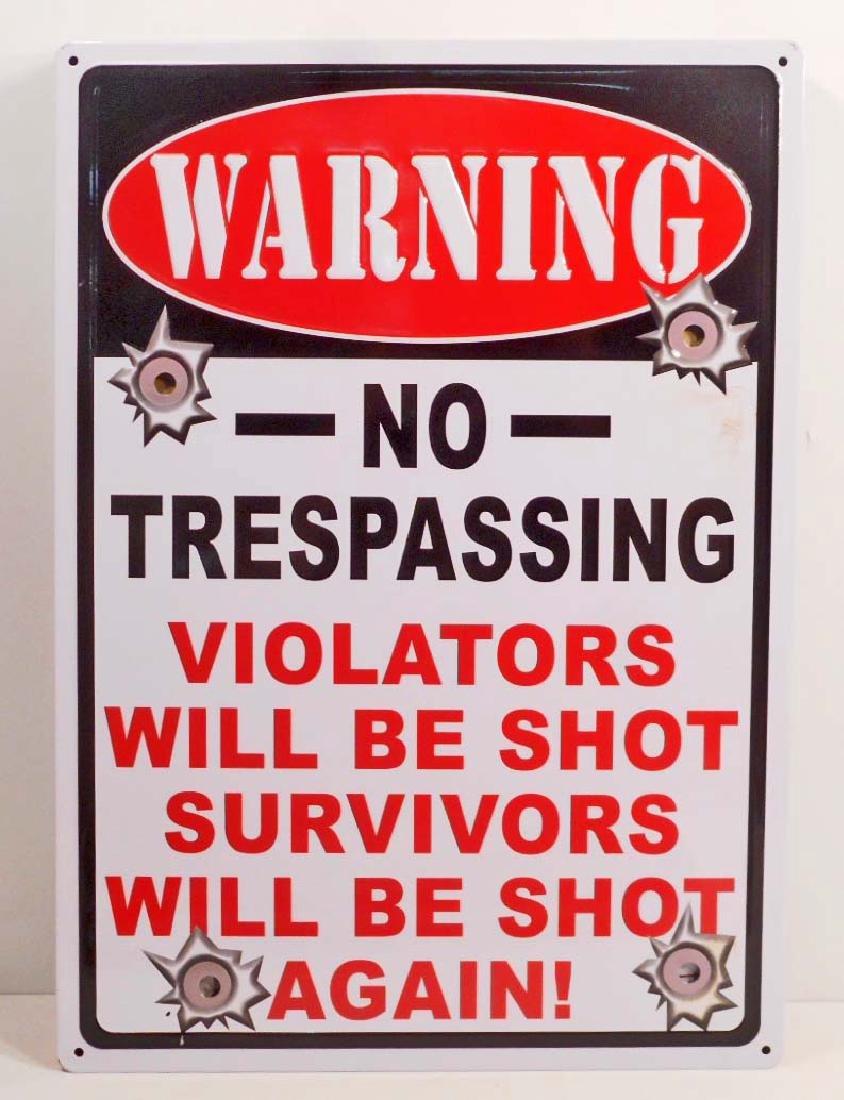 WARNING SURVIVORS SHOT AGAIN FUNNY EMBOSSED METAL SIGN