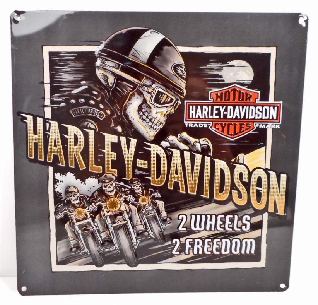 HARLEY DAVIDSON 2 WHEELS TO FREEDOM EMBOSSED METAL TIN