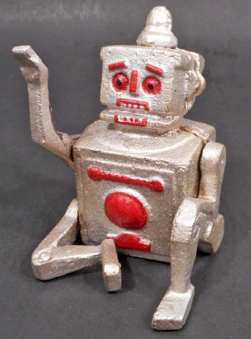 CAST IRON SILVER & RED ROBOT