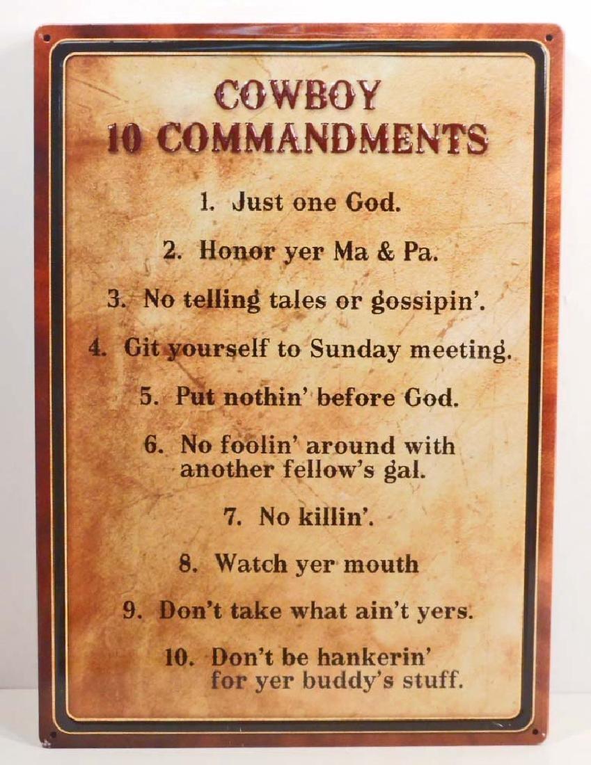 COWBOY 10 COMMANDMENTS FUNNY EMBOSSED METAL SIGN