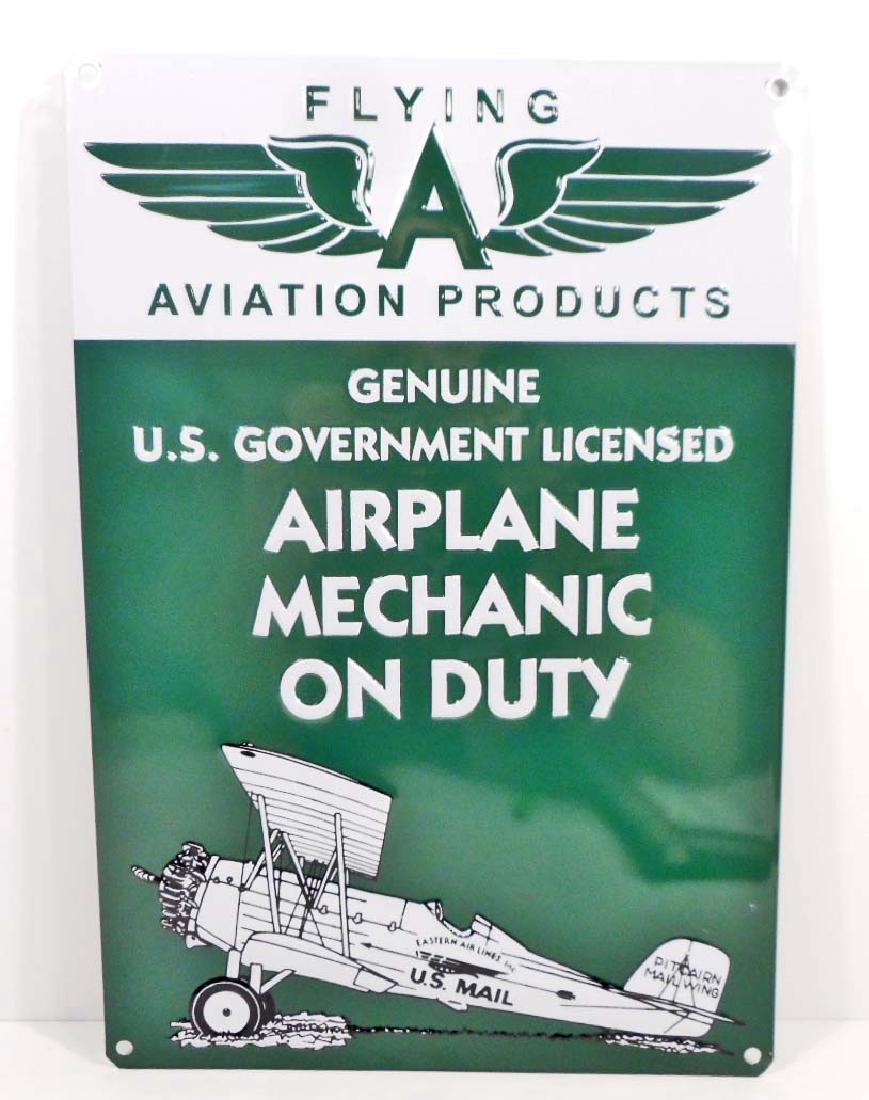 FLYING A AVIATION PRODUCTS EMBOSSED METAL TIN SIGN