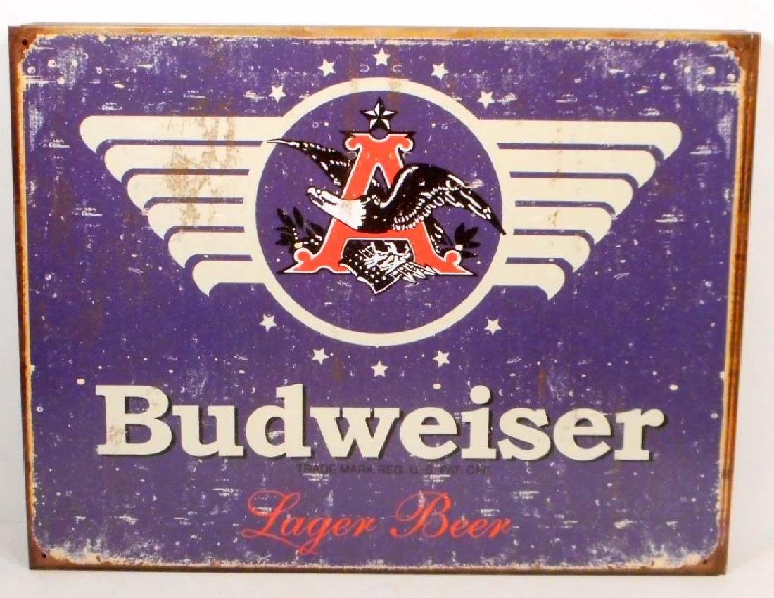 BUDWEISER LAGER BEER METAL ADVERTISING SIGN - 12.5X16