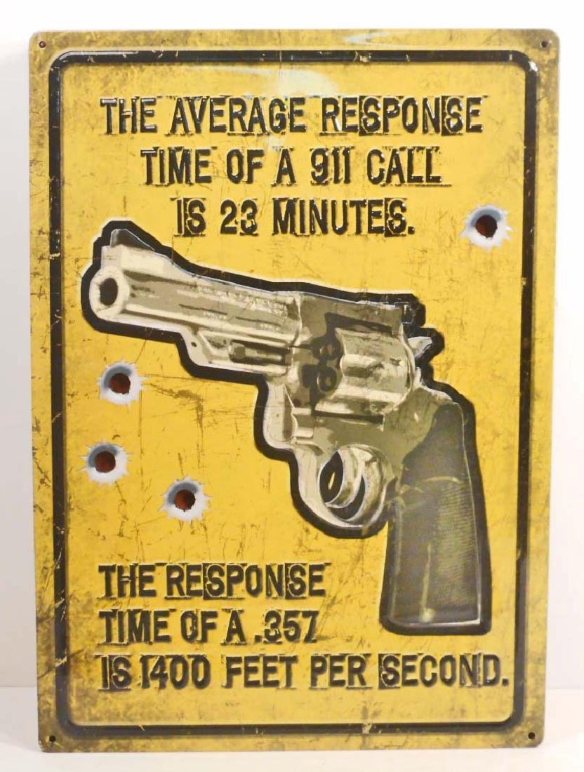 AVERAGE RESPONSE TIME FUNNY EMBOSSED METAL SIGN