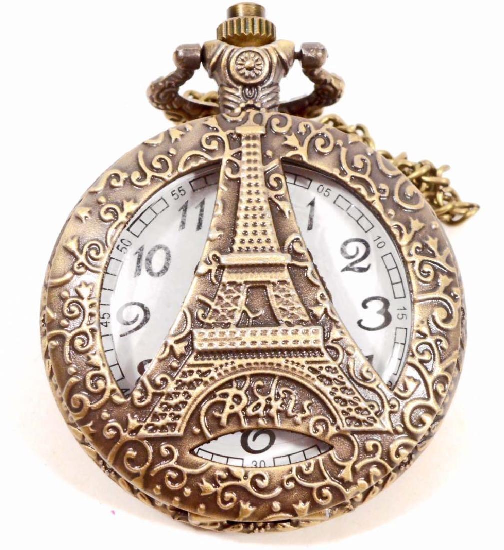 EIFFEL TOWER PARIS POCKET WATCH W/ CHAIN