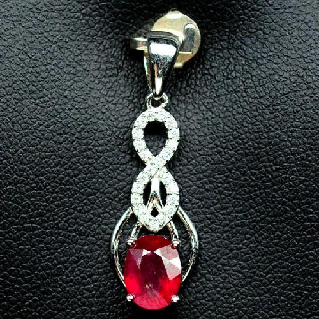 AWESOME! NATURAL! 6 X 8mm. RED RUBY & WHITE CZ STERLING