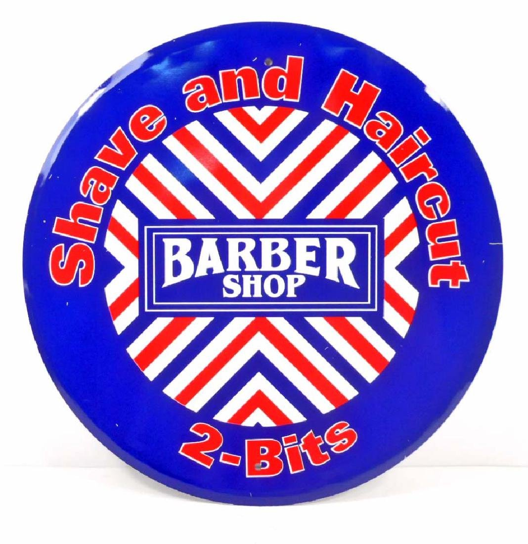 BARBER SHOP SHAVE & HAIRCUT ROUND METAL SIGN