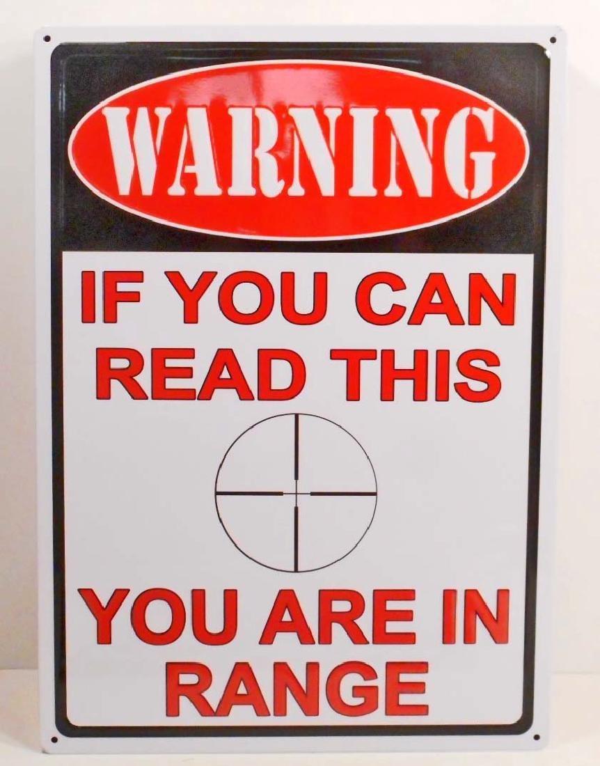 WARNING IN RANGE FUNNY EMBOSSED METAL SIGN