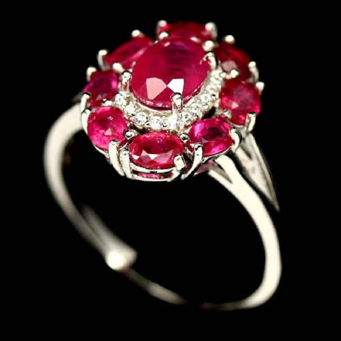 CHARMING! REAL! RED RUBY & WHITE CZ STERLING 925 SILVER
