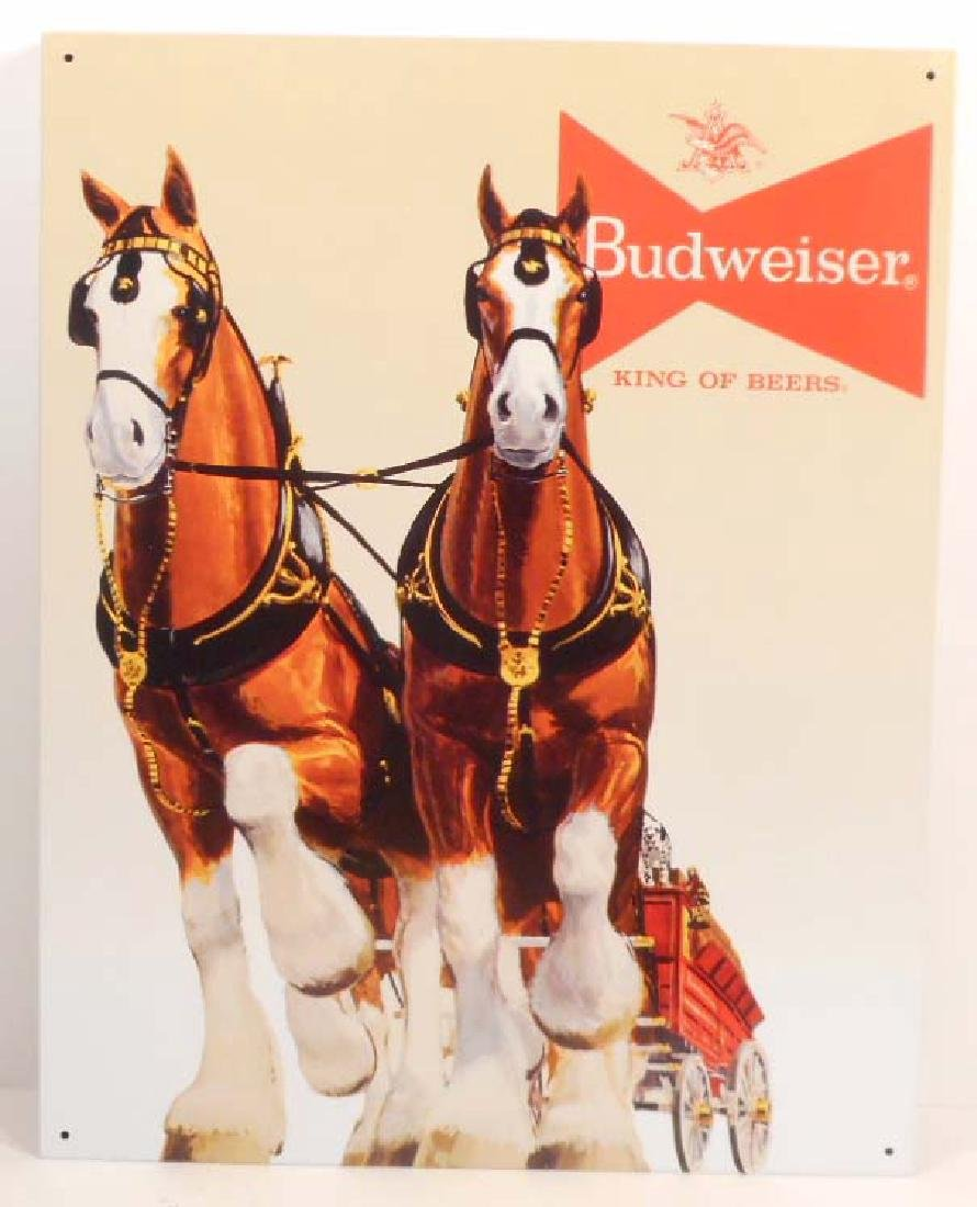 BUDWEISER CLYDESDALES METAL ADVERTISING SIGN - 12.5X16