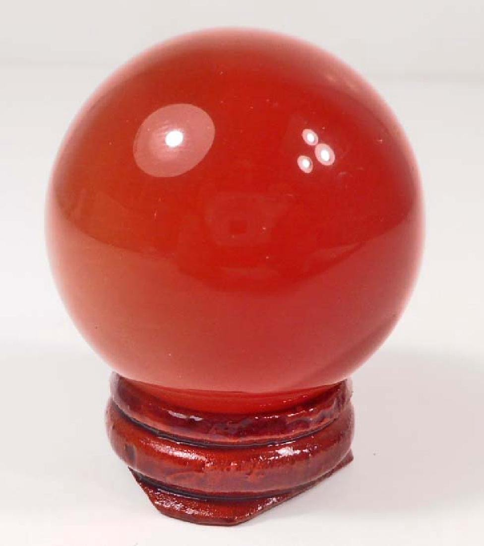 ORANGE GEMSTONE CRYSTAL BALL W/ STAND