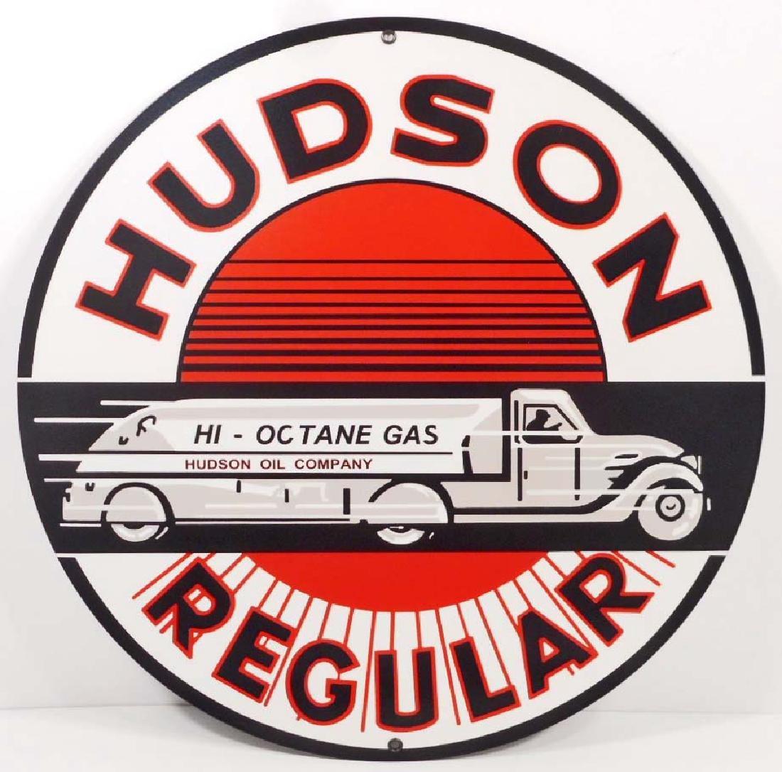 """HUDSON REGULAR GASOLINE STATION METAL SIGN - 14"""" ROUND"""