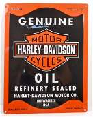 HARLEY DAVIDSON GENUINE OIL EMBOSSED METAL TIN SIGN