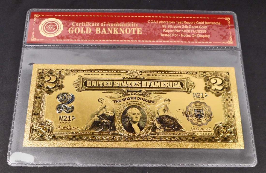 99.9% 24K TWO DOLLAR GOLD BANKNOTE W/COA