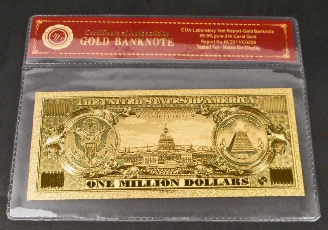 99.9% 24K ONE MILLION DOLLAR GOLD BANKNOTE W/COA - 2