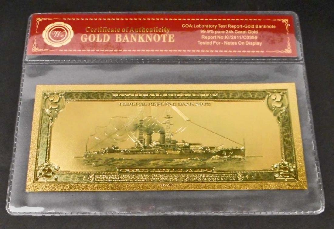 99.9% 24K TWO DOLLAR GOLD BANKNOTE W/COA - 2