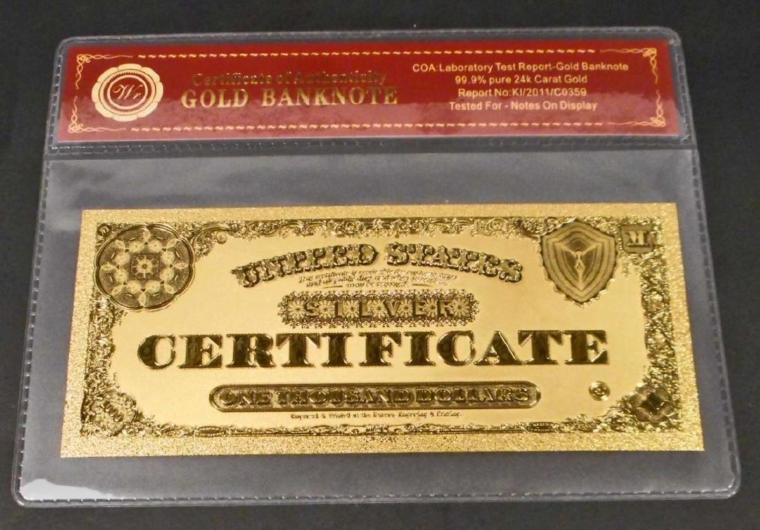 99.9% 24K ONE THOUSAND DOLLAR GOLD BANKNOTE W/COA - 2