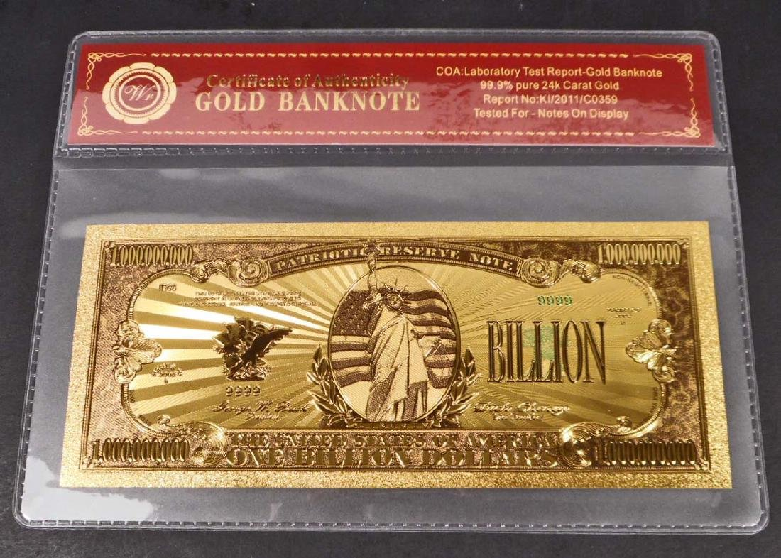 99.9% 24K ONE BILLION DOLLAR GOLD BANKNOTE W/COA
