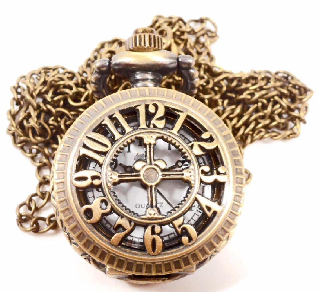 STEAMPUNK NUMBERS POCKET WATCH W/ CHAIN