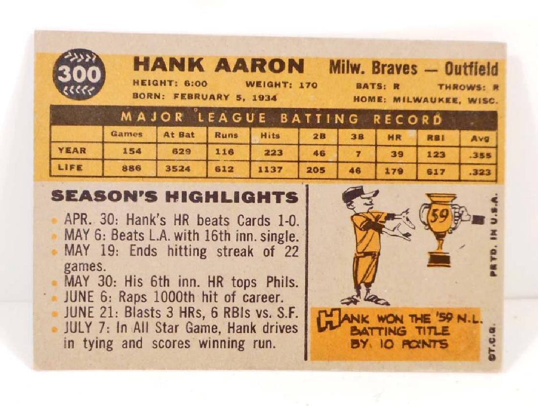 VINTAGE 1960 HANK AARON #300 BASEBALL CARD - 2