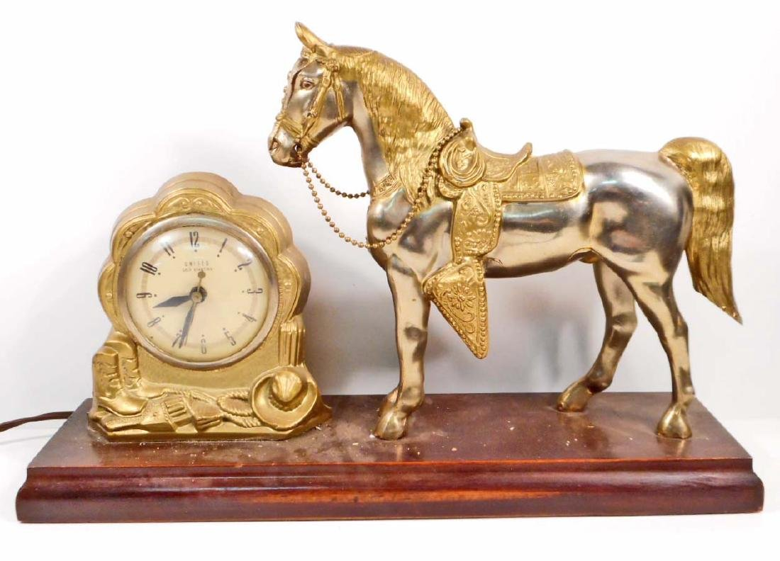 VINTAGE UNITED MANTLE CLOCK W/ GOLDEN HORSE WESTERN