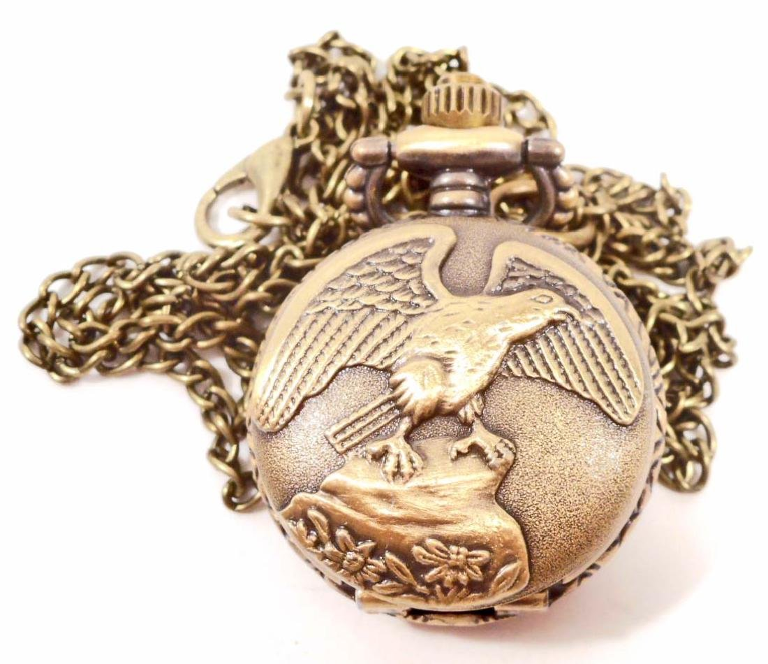 EAGLE WITH WINGS SPREAD POCKET WATCH W/ CHAIN