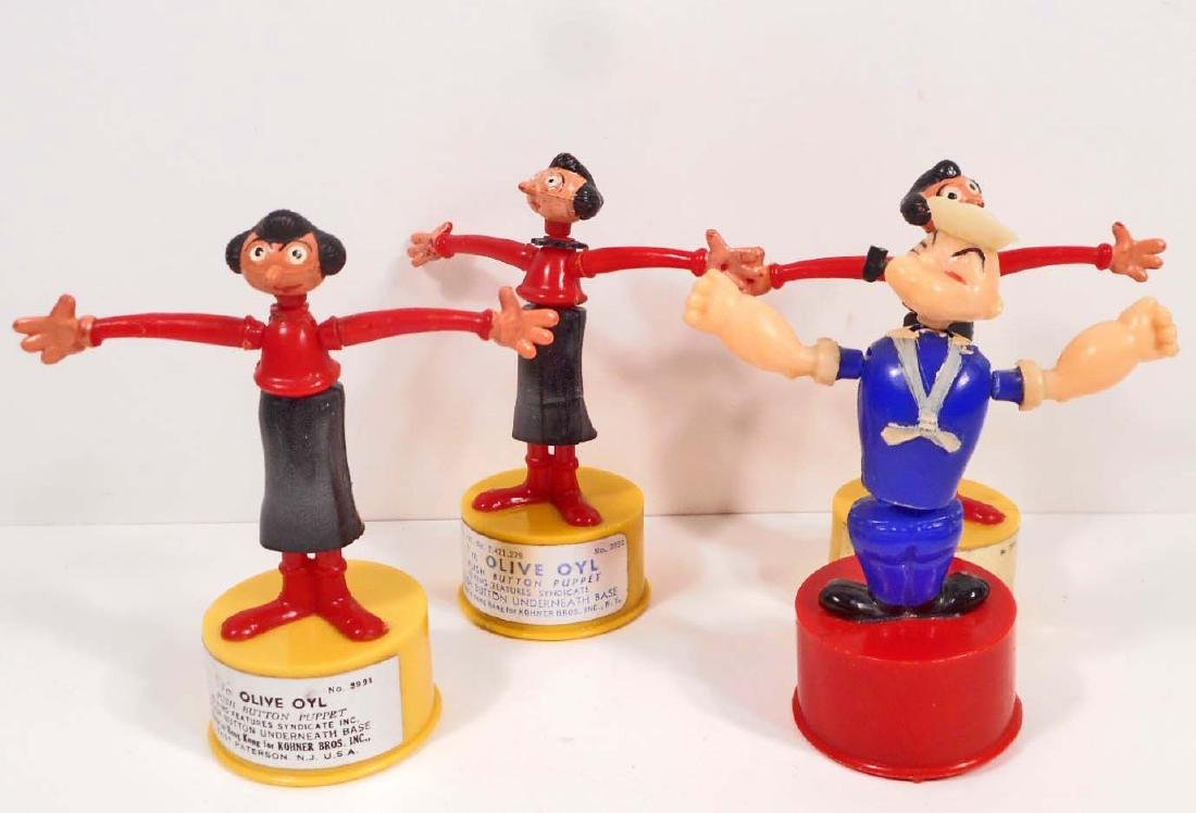 LOT OF 4 VINTAGE POPEYE AND OLIVE OYL PUSH BUTTON