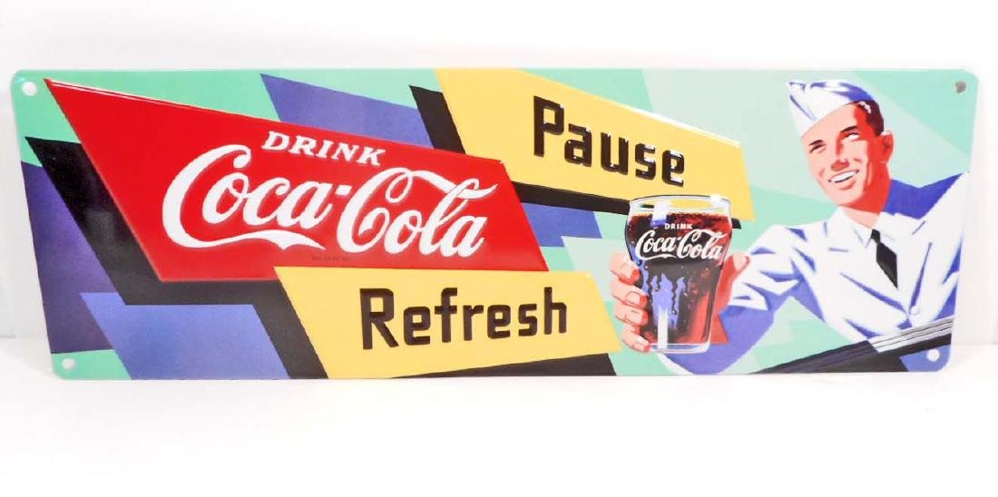 DRINK COCA COLA PAUSE AND REFRESH EMBOSSED METAL TIN