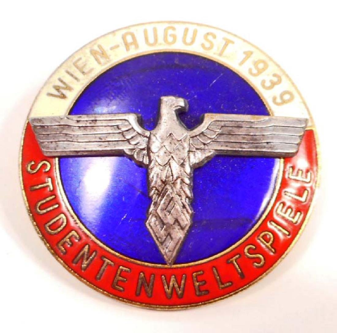 GERMAN NAZI WIEN STUDENTBUND ENAMELED BADGE