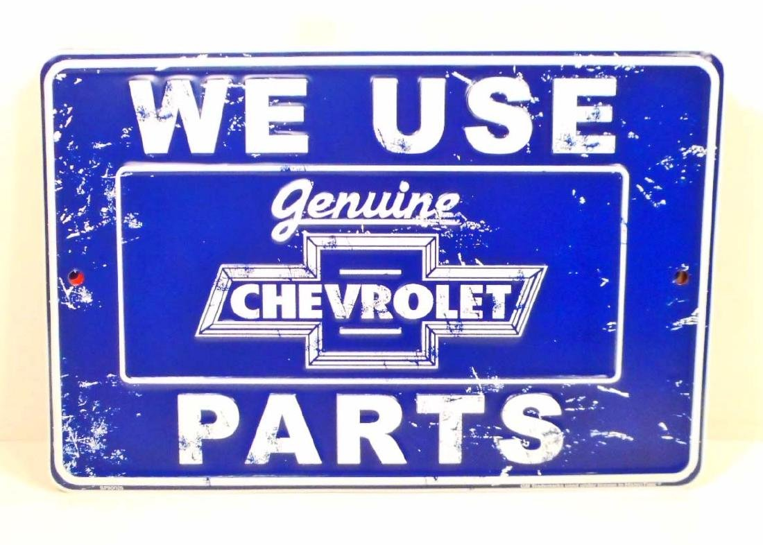 CHEVROLET USED PARTS ADVERTISING EMBOSSED METAL SIGN