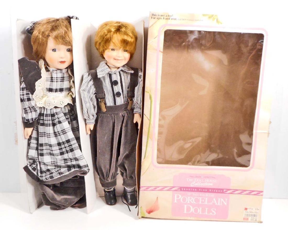 VINTAGE TWIN BOY & GIRL PORCELAIN DOLLS IN ORIGINAL BOX