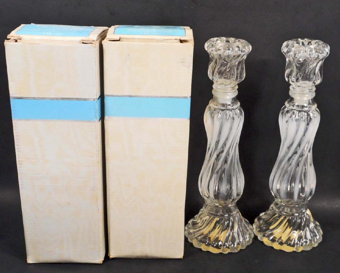 LOT OF 2 VINTAGE AVON OPALIQUE CANDLESTICK COLLECTIBLE