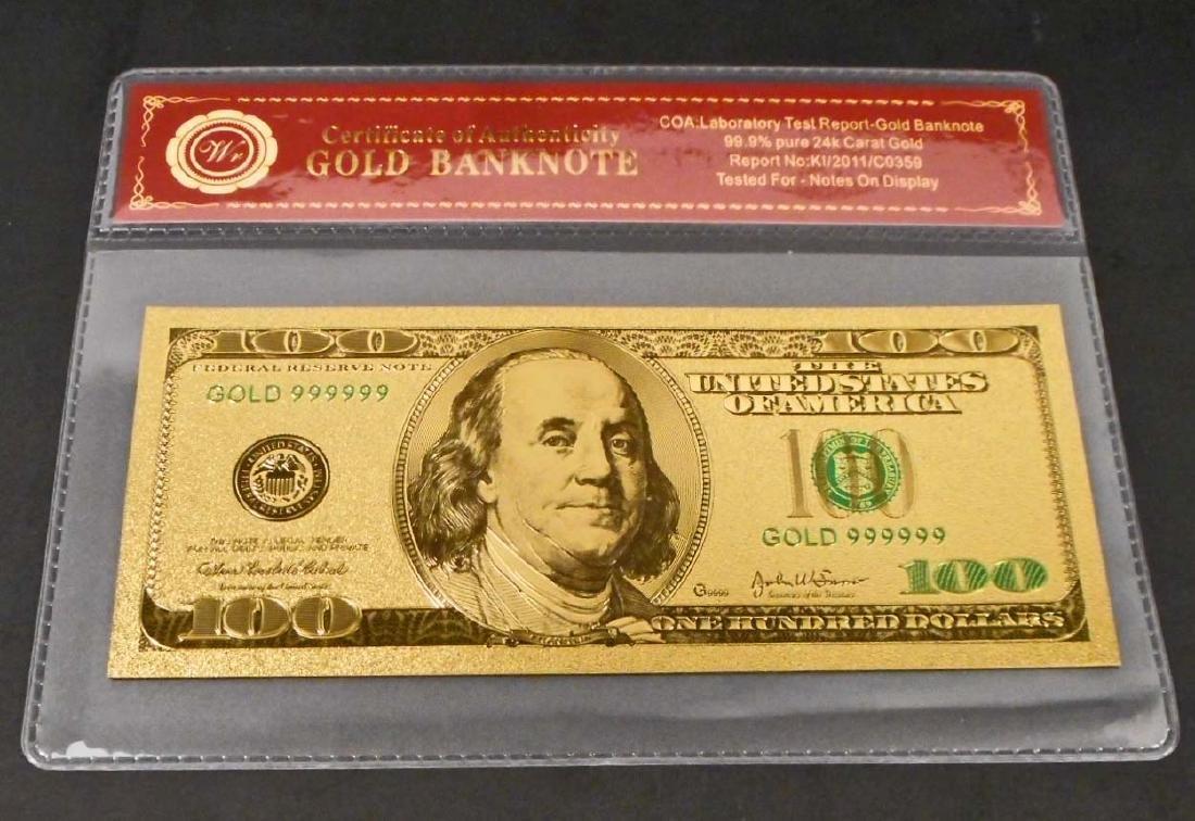 99.9% 24K ONE HUNDRED DOLLAR GOLD BANKNOTE W/COA