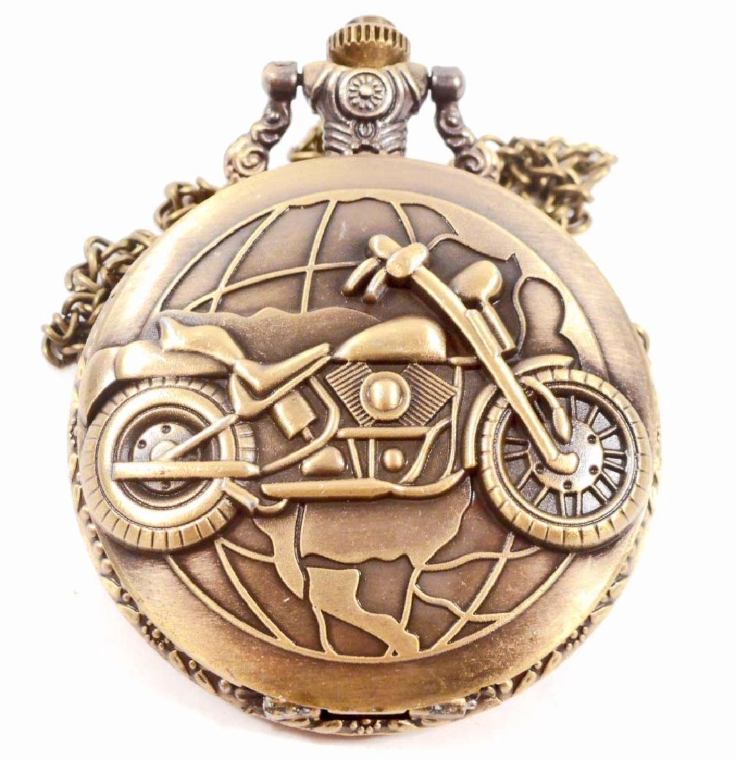 MOTORCYCLE GLOBE POCKET WATCH W/ CHAIN