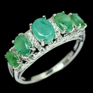 MATCHING NATURAL GREEN EMERALD WHITE CZ STERLING