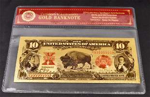 999 24K TEN DOLLAR GOLD BANKNOTE WCOA
