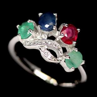 AWESOME REAL GREEN EMERALD RUBY SAPPHIRE CZ
