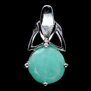 NATURAL 7mm GREEN EMERALD 925 STERLING SILVER PENDANT