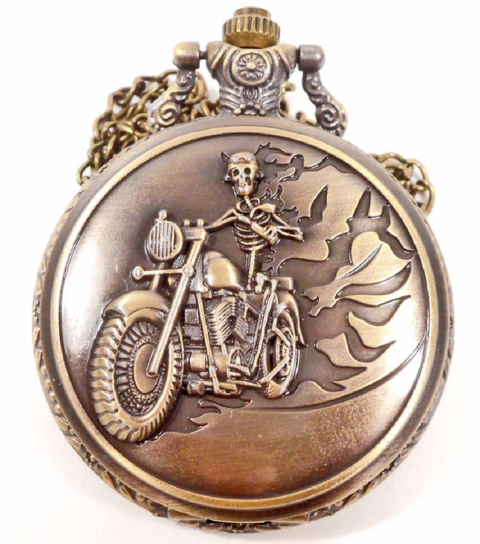 SKELETON ON MOTORCYCLE POCKET WATCH W/ CHAIN
