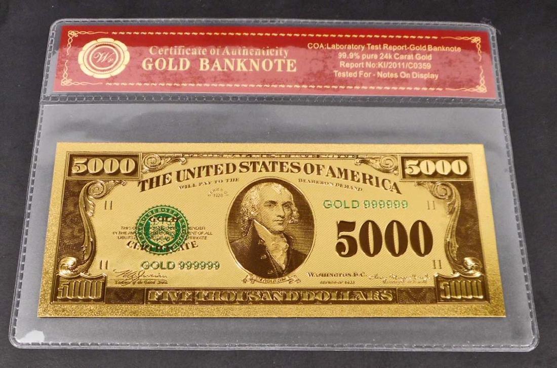 99.9% 24K FIVE THOUSAND DOLLAR GOLD BANKNOTE W/COA
